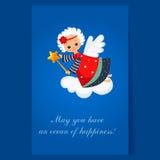 Jul Angel Flying med en trollspö Vinter Royaltyfria Bilder
