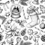 Jul anmärker den sömlösa modellen Räcka utdragen vektorbakgrund royaltyfri illustrationer