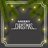 Jul bakgrund, bästa sikt för ` s för nytt år Julgranfilialer, belysning tänder girlanden på brädena i ramen royaltyfri illustrationer