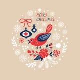 Jul bakgrund, hälsningkort Royaltyfri Foto