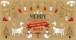 Jul bakgrund, vektorillustration, lyckligt nytt år 2018 Arkivfoton