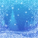 Jul bakgrund, vinterskog Royaltyfria Bilder