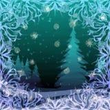 Jul bakgrund, vinterskog royaltyfri illustrationer