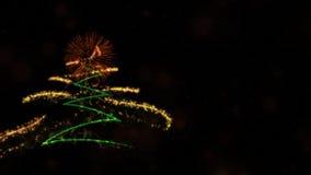 Jul & bakgrundstemat för nytt år innehåller sörjer trädet, fyrverkerier och partiklar royaltyfri foto