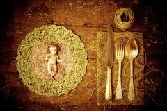Jul behandla som ett barn det Jesus Kristi födelsekortet royaltyfri fotografi