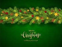 Jul bokstäver och feriegarneringar på grön bakgrund stock illustrationer