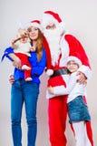 Jul claus santa lycklig familj Royaltyfria Foton