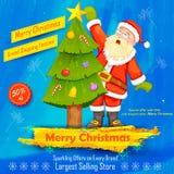 jul claus som dekorerar den santa treen Arkivbilder