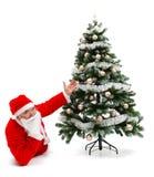 jul claus som lägger santa som visar treen Royaltyfri Foto