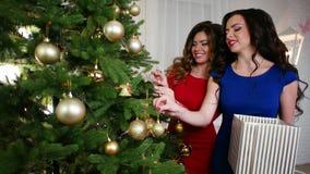 Jul de härliga flickvännerna förbereder sig för ferien, dekorerar julgranen, hängning färgad jul arkivfilmer