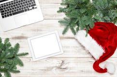 Jul Decorat för PC för minnestavla för anteckningsbok för bärbar dator för tangentbord för kontorsskrivbord arkivbild