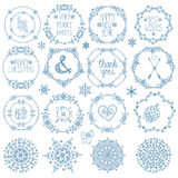 Jul dekor för nytt år Uppsättning för vintercirkelramar Royaltyfri Foto