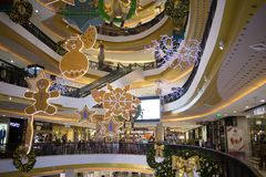 Jul dekorerar område i den centrala festivalen Chiang Mai Arkivfoto