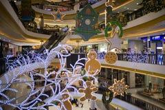 Jul dekorerar område i den centrala festivalen Chiang Mai Royaltyfri Bild