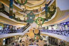 Jul dekorerar område i den centrala festivalen Chiang Mai Royaltyfria Bilder