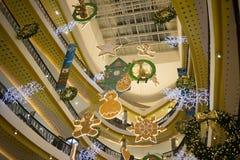 Jul dekorerar område i den centrala festivalen Chiang Mai Arkivbild