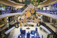 Jul dekorerar område i den centrala festivalen Chiang Mai Royaltyfria Foton