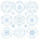 Jul dekoruppsättning för nytt år Vintern inramar kransar vektor illustrationer