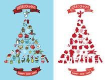 Jul det nya året klottrar i spurceträdform Arkivfoto