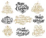 Jul det nya året semestrar märka citationstecken royaltyfri illustrationer