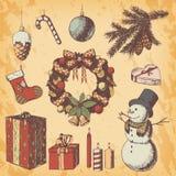 Jul eller den drog handen för nytt år färgade vektorillustrationen Attribut och symboler skissar, tappningstil, snögubbe royaltyfri foto