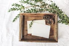 Jul eller plats för vinterbröllopmodell Tomma kort för hälsningen för bomullspapper, gammalt trämagasin, sörjer kottar och gräspl arkivbilder
