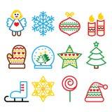 Jul färgade symboler med slaglängden - Xmas-trädet, ängeln, snöflinga Arkivfoto