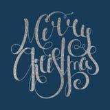 Jul för calligraphic inskrift för silver glad Arkivbilder