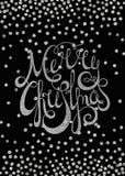 Jul för calligraphic inskrift för silver glad Arkivfoton
