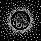 Jul för calligraphic inskrift för silver glad Royaltyfri Bild