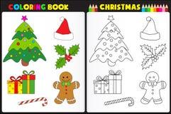 Jul för färgläggningbok vektor illustrationer