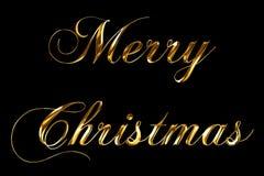 Jul för gul guld för tappning uttrycker metallisk glad text med ljus reflex på svart bakgrund med den alfabetiska kanalen, begrep stock illustrationer