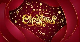 Jul för guld- text för vektor glad på röd plast- effektbakgrund med fallande stjärnor, planeter, komet, galaxer royaltyfri illustrationer