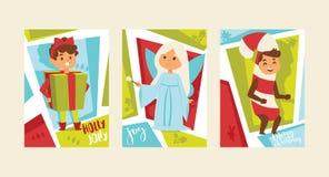 Jul 2019 för hälsningkort för lyckligt nytt år xmas för vinter för ferier för baner för bakgrund för vektor för dräkt för barn fö stock illustrationer