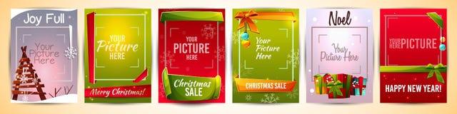 Jul för hälsningkort för nytt år mallar för vektor vektor illustrationer