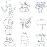 Jul för handattraktionlägenhet av klotter Royaltyfri Fotografi