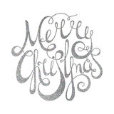 Jul för handskriven inskrift för silver glad Arkivfoto