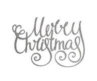 Jul för handskriven inskrift för silver glad Royaltyfria Bilder