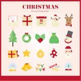 Jul för julsymboler för symboler den fastställda färgen Arkivbilder