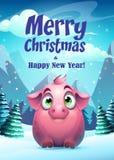 Jul för kort för hälsning för vektorillustrationsvin glad stock illustrationer