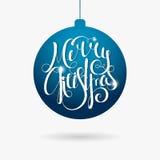 Jul för skriftlig inskrift för hand glad i boll Arkivbilder