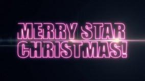 JUL för STJÄRNA för purpurfärgat rosa färglaser-neon smsar GLAD med skinande ljus optisk signalljusanimering på ny svart bakgrund lager videofilmer
