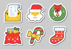 Jul för symbolsklistermärke för nytt år isolerad uppsättning royaltyfri illustrationer
