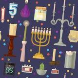 Jul för tecknad film för uppsättning för ljusstake för vax för flamma för levande ljus för stearinljus för vektorhanukkah menoror royaltyfri illustrationer