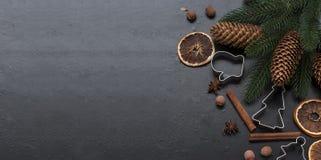 Jul förgrena sig, bollar, pärlor, kottar, kryddig julbackgro Royaltyfria Bilder