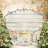 Jul förgrena sig med guld- struntsaker 10 eps Arkivbilder
