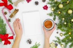 Jul förlöjligar upp spiralanteckningsboken, tomt vitbokark Den bästa sikten av kvinnans händer rymmer te Kreativitetmodell från arkivfoto