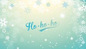 Jul försilvrar bakgrund med snöflingor och anständig blå text för glad jul vektor illustrationer