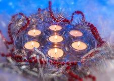 Jul festliga stearinljus Royaltyfri Bild
