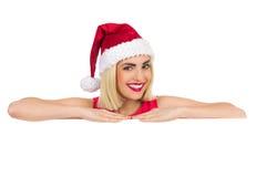 Jul flicka och kopieringsutrymme royaltyfria bilder